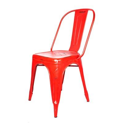 Silla Vintage Estilo Tolix Roja Desgastada