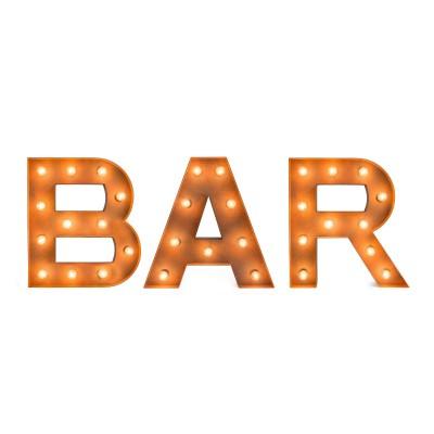 Set letras vintage con bombillas BAR