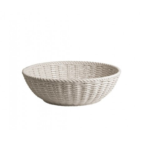 Porlain Basket of Bread in White