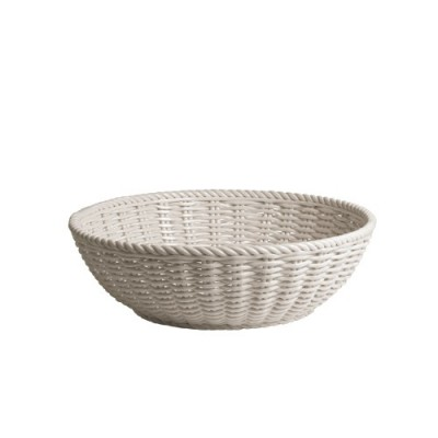 Porlain Basket of Bread in White