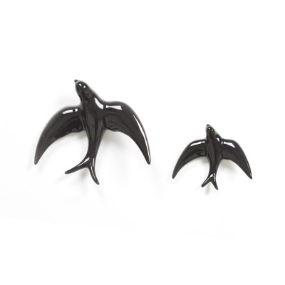 Set Black Porcelain Decorative Swallows