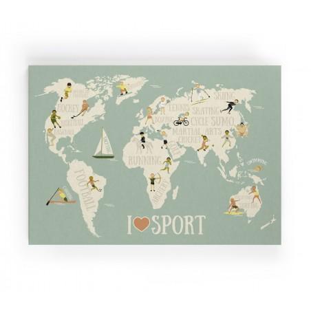 Lienzo Mapamundi Sports