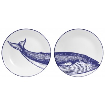 Set de 2 Platos Decorados Blue Whale