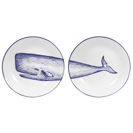 Set de 2 Platos Decorados Blue Whale