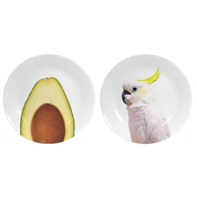 Set de 2 Platos Decorados Tropical