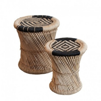 Set of Natural Bamboo Stools