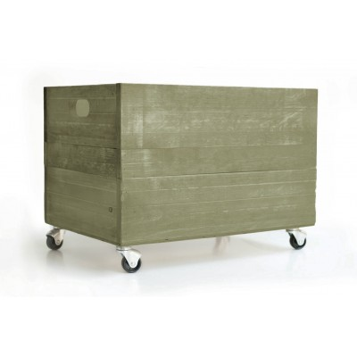 Green Dried Herb Wood Box 1945 with Wheels
