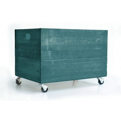 Turquoise Limpet Wood Box 1945 with Wheels