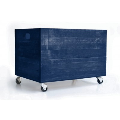 Night Blue Wood Box 1945 with Wheels