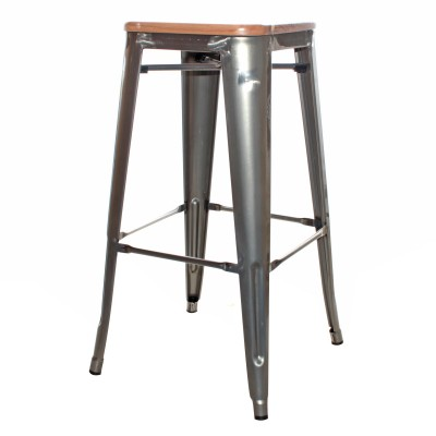 Natural Tolix Wood Stool