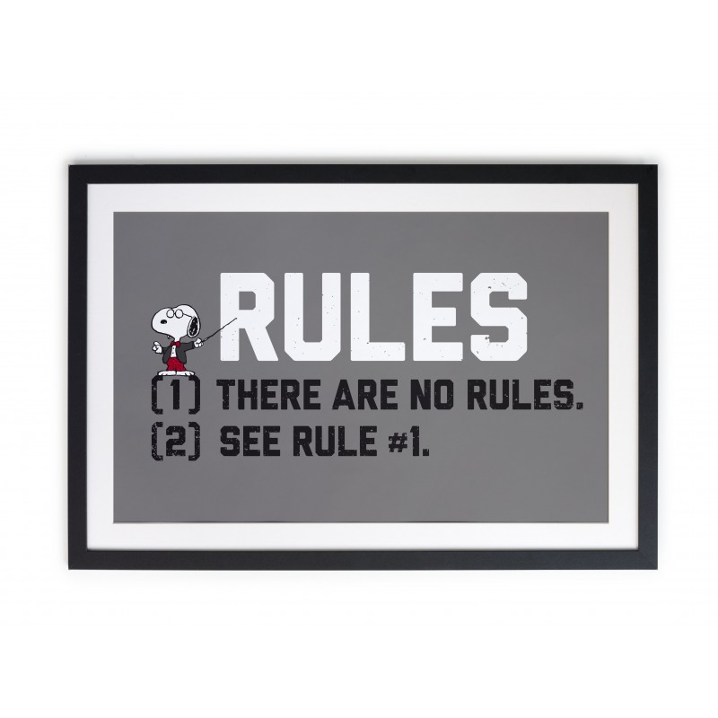Cuadro Moldura Negra Snoopy Rules