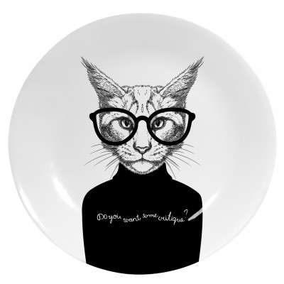 Decorative Plate Black Cat