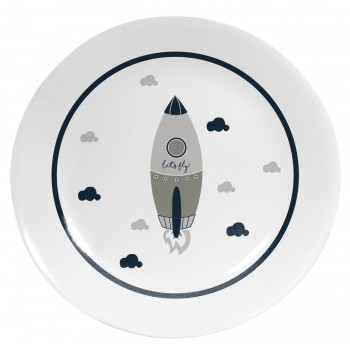 Decorative Plate Cool Grey Rocket