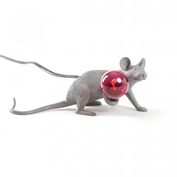Mouse Lamp Lie Down Gray
