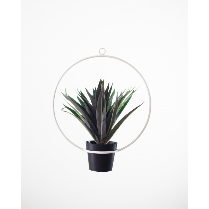 Metal Hanging Planter Circle Blanco