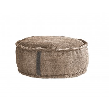 Stone Washed Round Pouf - Sand
