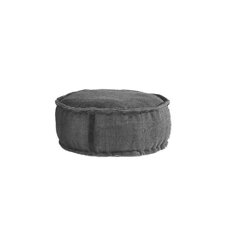 Stone Washed Round Pouf - Grey