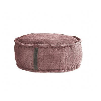 Stone Washed Round Pouf - Rose