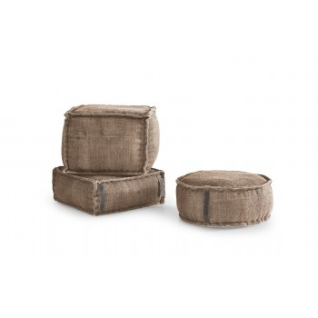 Stone Washed Square Pouf S - Sand