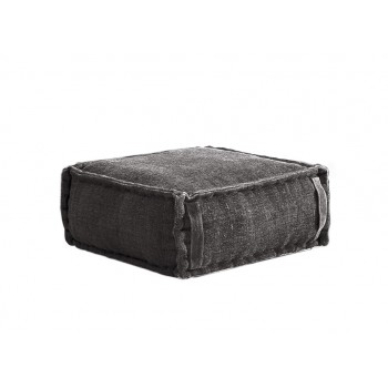 Stone Washed Square Pouf S - Grey