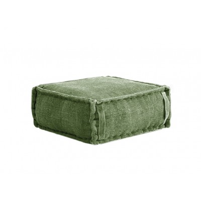 Stone Washed Square Pouf S - Green