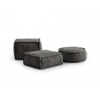 Stone Washed Square Pouf XL - Grey
