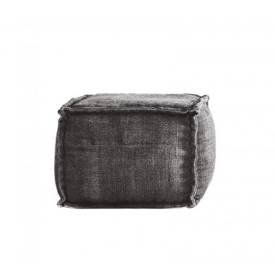 Stone Washed Square Pouf XL - Grey