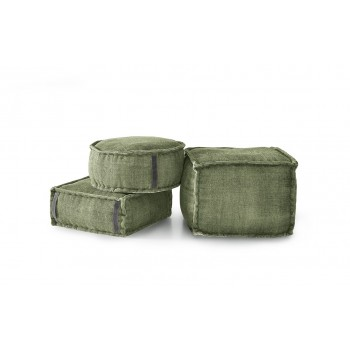 Stone Washed Square Pouf XL - Green