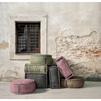 Stone Washed Square Pouf XL - Rose