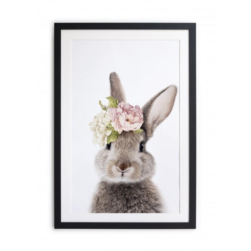 Cuadro moldura negra 60x40 Baby Rabbit