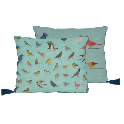 Cojin 50x35 Lino Borlas Fancy Birds