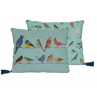 Cojin 50x35 Lino Borlas Fancy Birds