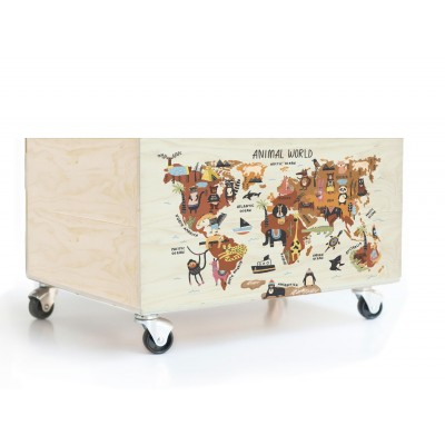 Cajon 50x23 Animals Worldmap