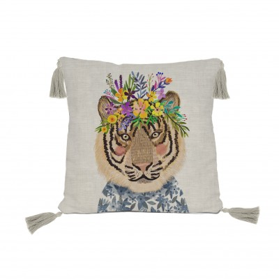 Cojín redondo Floral Cat
