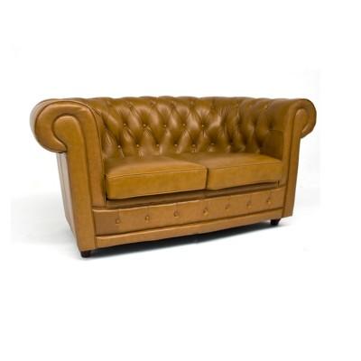 Sofa Chester Camel 2 Plazas Piel